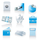 Icone di attività bancarie e di finanze Fotografia Stock