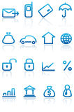 Icone di attività bancarie e di finanze impostate illustrazione di stock