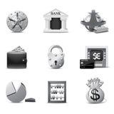 Icone di attività bancarie   Serie di B&W Fotografia Stock