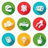 Icone di automobilismo messe Illustrazione di vettore Immagine Stock