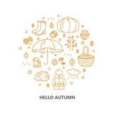Icone di autunno nel cerchio Zucca, abbigliamento, inceppamento, tempo, funghi, raccolto in uno stile lineare Fotografia Stock