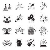 Icone di B&W messe: Oggetti del partito Immagine Stock