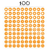 100 icone di base del segno della freccia messe Fotografie Stock Libere da Diritti