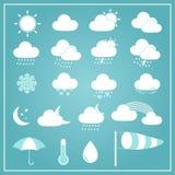 Icone di base del tempo su fondo blu Immagini Stock