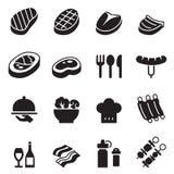 Icone di base della bistecca messe Immagine Stock Libera da Diritti