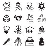 Icone di base della carità e doni messe Fotografia Stock Libera da Diritti