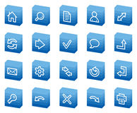 Icone di base di Web, serie della casella blu Fotografie Stock