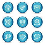 Icone di base di Web, serie lucida blu della sfera Fotografie Stock Libere da Diritti