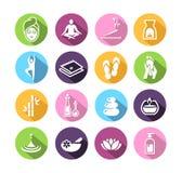 Icone di benessere nello stile piano di progettazione Fotografia Stock Libera da Diritti