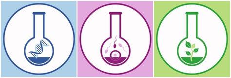 Icone di biologia Fotografia Stock