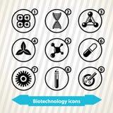 Icone di biotecnologia illustrazione di stock