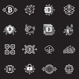 Icone di Blockchain e di Bitcoin Cryptocurrency Fotografie Stock