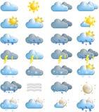 Icone di bollettino meteorologico fotografia stock libera da diritti