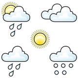 Icone di bollettino meteorologico Immagini Stock