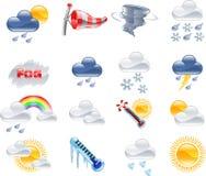 Icone di bollettino meteorologico Fotografia Stock