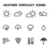Icone di bollettino meteorologico per il vostro disegno Fotografia Stock