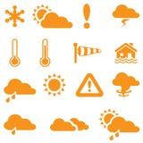 Icone di bollettino meteorologico per il vostro disegno Immagini Stock