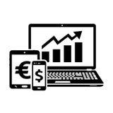 Icone di borsa valori Commerci di scambio illustrazione vettoriale