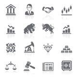 Icone di borsa valori di finanza e di affari. Fotografie Stock Libere da Diritti