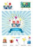 Icone di buon compleanno Fotografie Stock Libere da Diritti