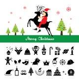 Icone di Buon Natale messe Immagini Stock Libere da Diritti