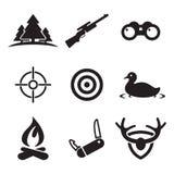 Icone di caccia Immagini Stock Libere da Diritti