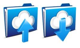 Icone di calcolo di upload e di trasferimento dal sistema centrale verso i satelliti della nube royalty illustrazione gratis