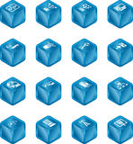 Icone di calcolo S del cubo della rete Fotografie Stock Libere da Diritti