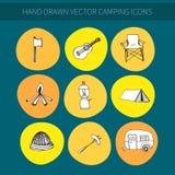 Icone di campeggio Fotografie Stock
