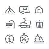 Icone di campeggio Illustrazione Vettoriale