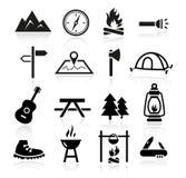 Icone di campeggio all'aperto Fotografia Stock