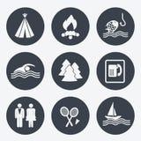 Icone di campeggio - bottoni circolari, insieme 2 Immagine Stock