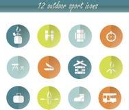 Icone di campeggio del giro piano, segni bianchi su verde, arancio, blu, grafici Elemento di disegno Immagini Stock Libere da Diritti