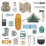 Icone di campeggio dell'attrezzatura messe Fotografia Stock