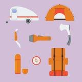 Icone di campeggio di vettore Fotografia Stock