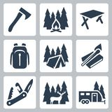 Icone di campeggio di vettore messe Fotografia Stock Libera da Diritti