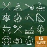 Icone di campeggio Icone perfette del profilo di vettore del pixel Fotografia Stock