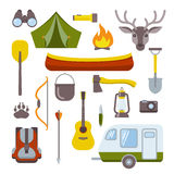 Icone di campeggio impostate royalty illustrazione gratis