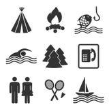 Icone di campeggio - insieme 2 Fotografia Stock