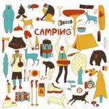 Icone di campeggio senza cuciture del fumetto Immagine Stock