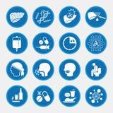 Icone di causa e di trattamento del cancro del fegato Fotografia Stock Libera da Diritti