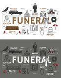 Icone di cerimonia di sepoltura e di funerale illustrazione di stock