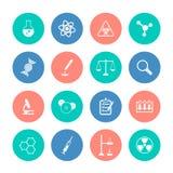 Icone di chimica sui cerchi di colore illustrazione di stock