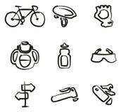 Icone di ciclismo a mano libera Immagine Stock