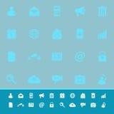 Icone di colore del telefono cellulare su fondo blu Fotografia Stock