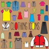 Icone di colore dell'abbigliamento Immagine Stock