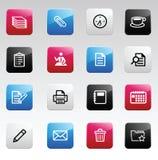 Icone di colore dell'ufficio Immagini Stock