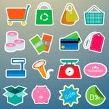 Icone di colore di acquisto messe Immagini Stock Libere da Diritti