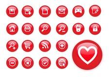 Icone di colore rosso del cerchio Fotografia Stock