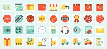 Icone di commercio elettronico, di acquisto e di consegna messe Fotografia Stock